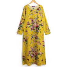 EaseHut 2019 新ヴィンテージ女性マキシ花ドレスプラスサイズ長袖ポケット O ネックコットンリネンローブドレス vestidos(China)