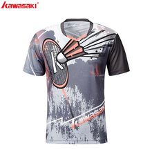 Kawasaki 2019 nuevo estilo bádminton ropa deportiva transpirable hombres camisa con cuello en V Shorts camisetas para hombres ST-S1105(China)