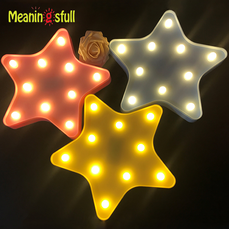 Meaningsfull Lovely Marquee Light Star Led Night Light 2AA Battery Wall Lamps For Children Kids Toys Gift Living Room Home Decor(China (Mainland))