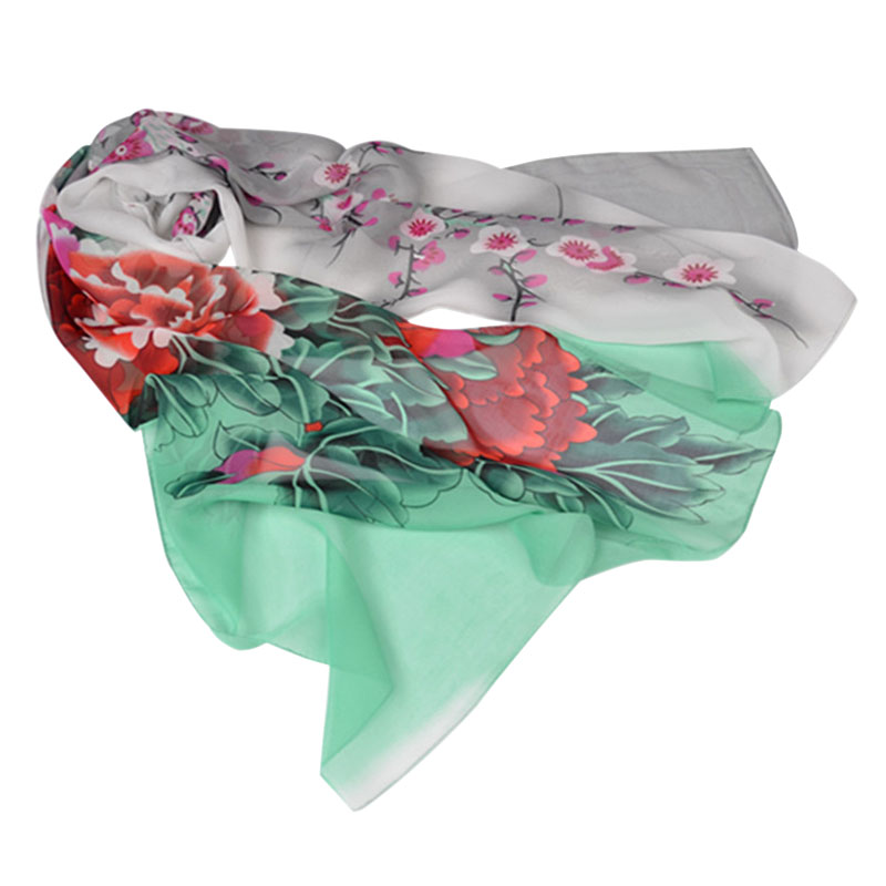 Hot New Sale 6# Fashion Lady's Bird and Flower Printed Flower Soft Silk Chiffon Neck Scarf Wrap Stole High Quality Free Shipping(China (Mainland))
