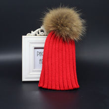 2015 Fashion Children Winter Raccoon Fur Hats 100% Real 15cm Fur pom pom Beanies Cap Natural Fur Hat For Kids Children(China (Mainland))