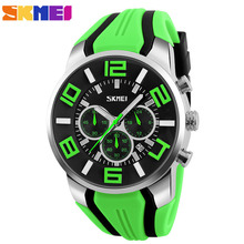 SKMEI Brand Six pin Stopwatch Chronograph Sports Watches Men Waterproof Silicone Quartz Watch Students Fashion Casual Wristwatch(China (Mainland))