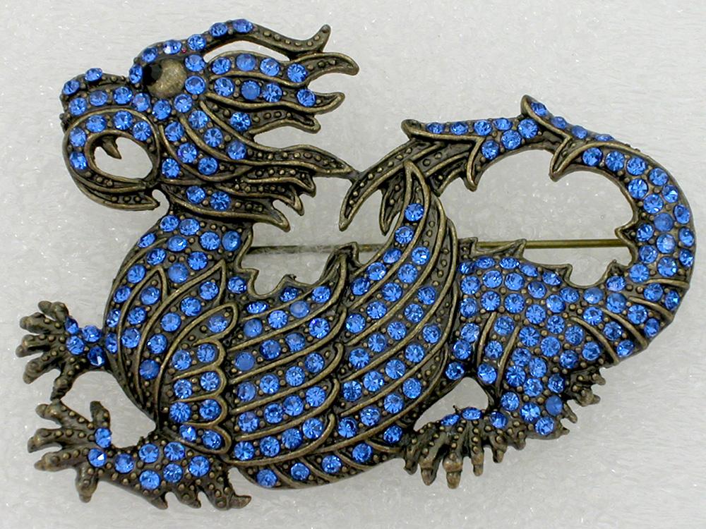 Fashion Costume Antique Bronze Crystal Dragon Brooch pin,Blue Rhinestone brooch C749 C1N3(China (Mainland))