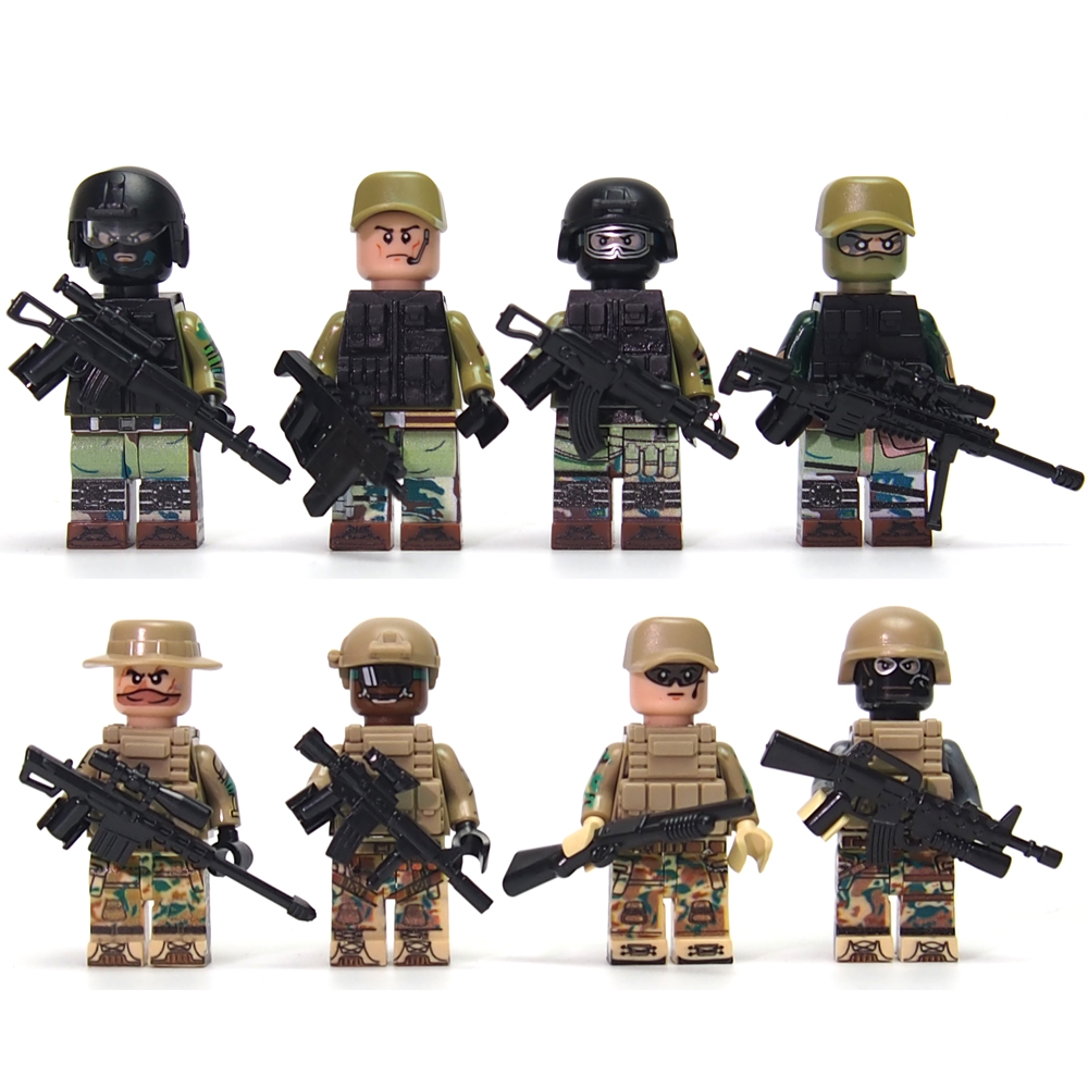 Military Modern War Battlefield Russian Recon Support Engineer Navy Swat Police Minifigures Block Compatible With Legoes(China (Mainland))