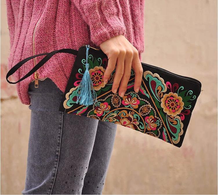 Гаджет  2015 New Women Ethnic National Retro Butterfly Flower Bag Handbag Coin Purse Embroidered Bag Lady Handbag None Камера и Сумки