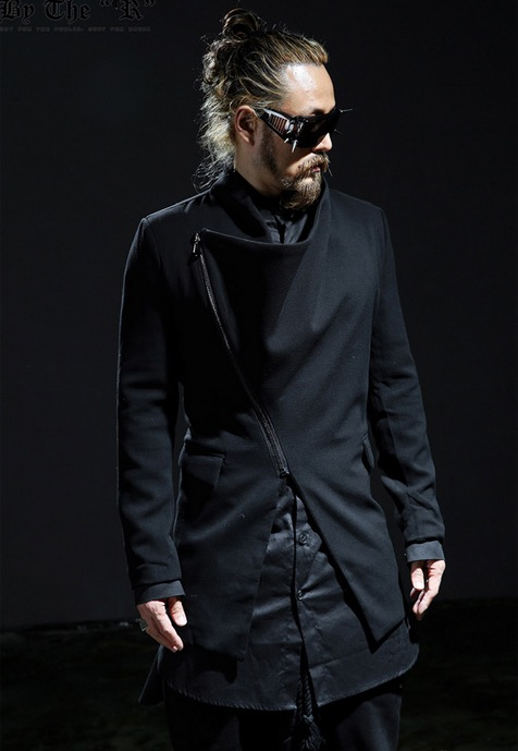 2016 Harajuku Korean Fashion Zipper Unique Men Trench Coat Black Slim Fit Long Casual Windbreaker Men Jacket Designs Free Ship(China (Mainland))