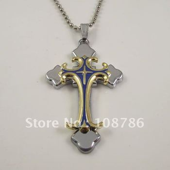 10 pcs blue and gold color stainless steel two double Pendant Stainless Steel Necklace Steel pendant jewelry