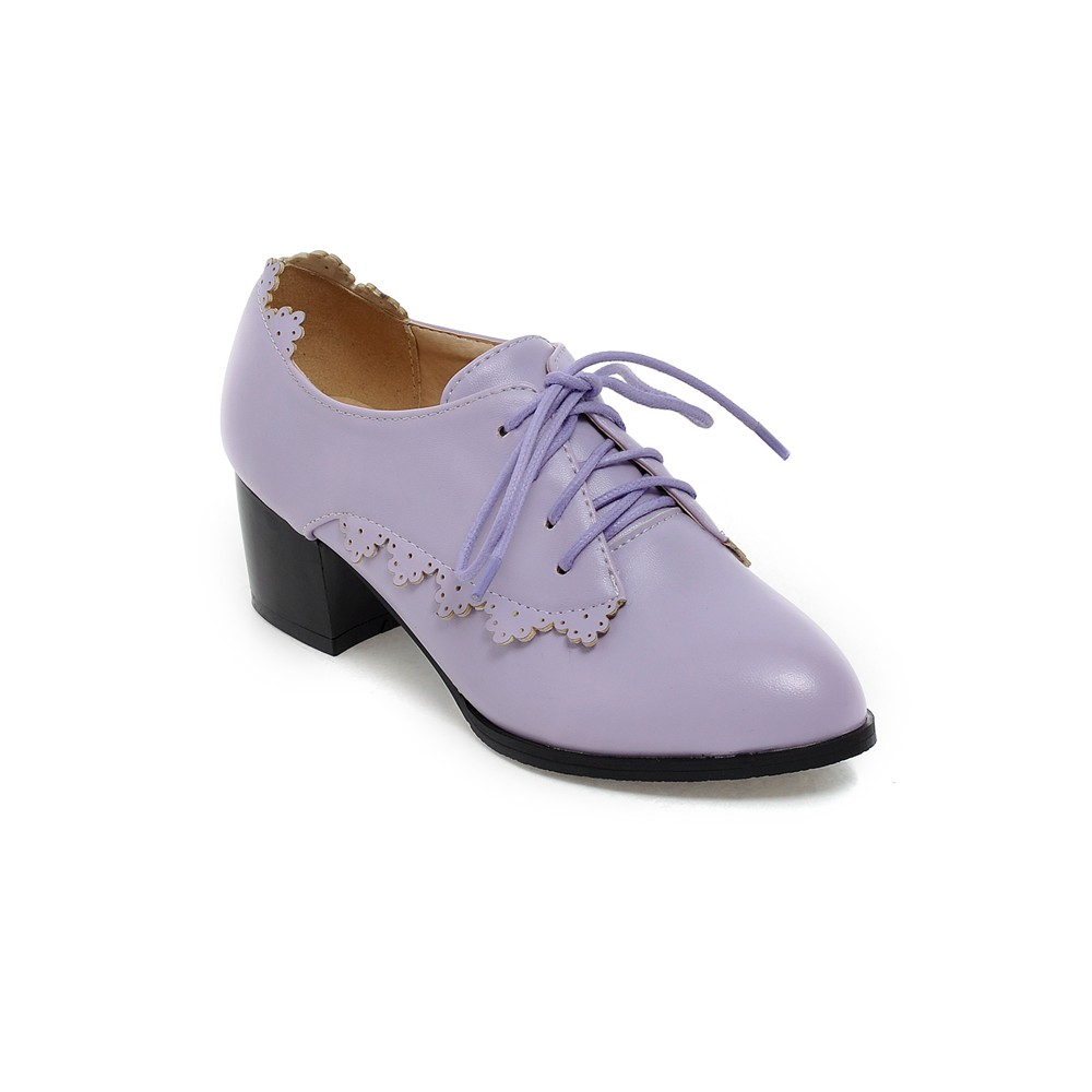 Фотография Shoes Woman 2016 Big Size Summer Lavender Institute Wind Lace-up Hollow carved Pointed Toe Handsome Square Kitten Heel 0541