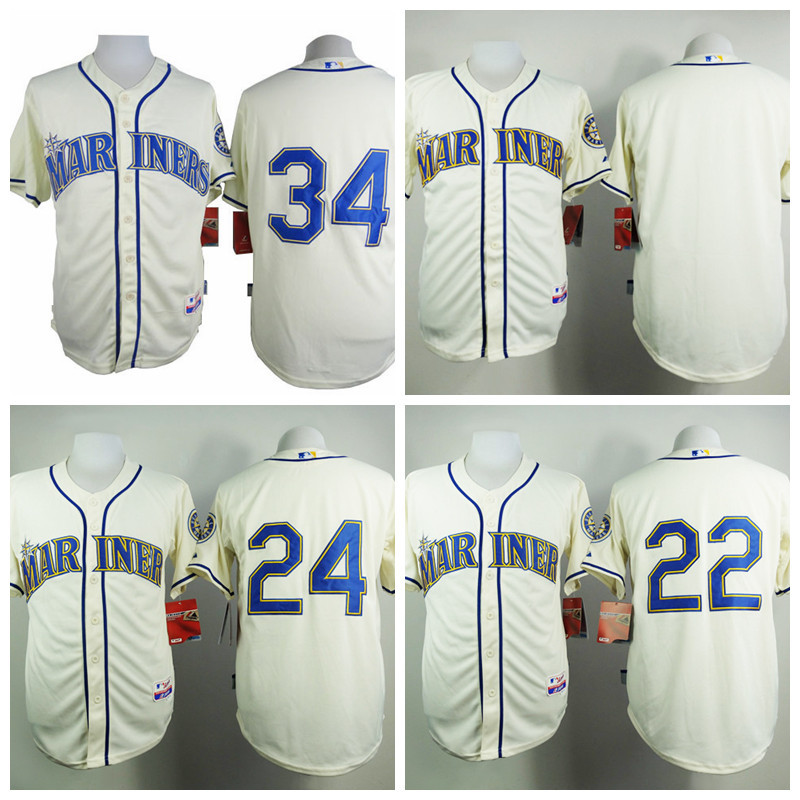 Seattle Mariners 2015 New Design Cream Jerseys 24 Ken Griffey Jersey 34 Felix Hernandez 22 Robinson Cano Blank 100% Stitched Top(China (Mainland))