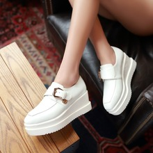 2015 lady cute black red white casual on platform heels women party Buckle Strap shoes summer autumn pointed toe flats female