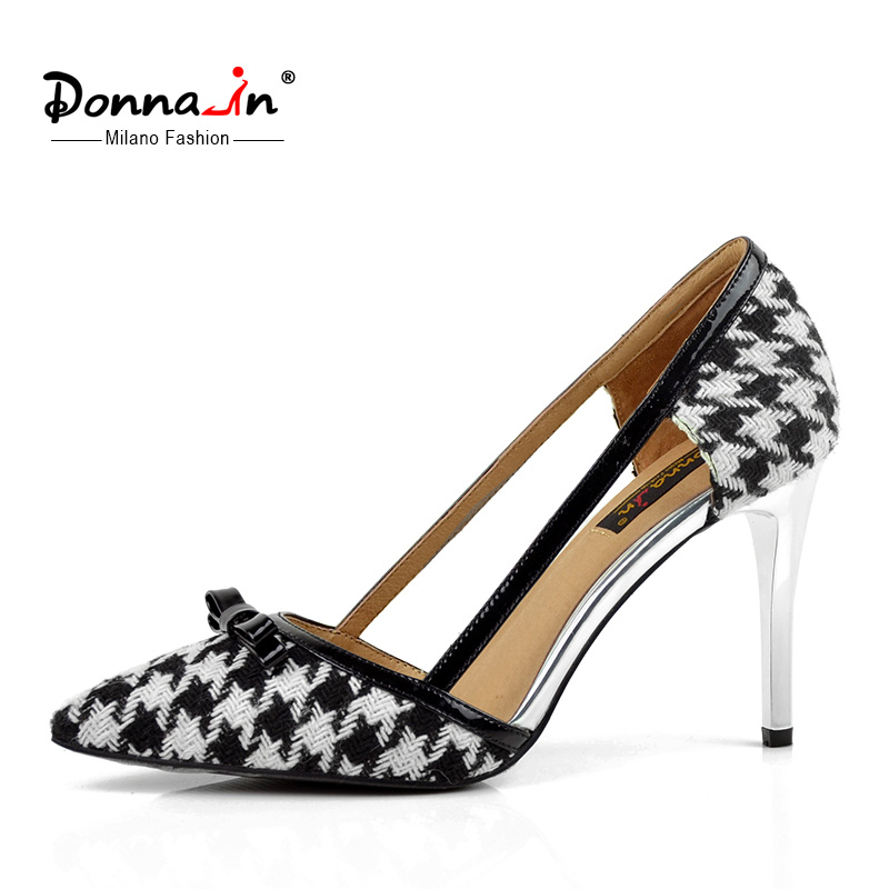 Donna-in 2016 new styles Ladies leather shoes thin and high heel pumps pointed toe women's shoes(China (Mainland))