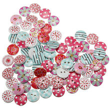 80pcs/lot Circular Button Random Mix Wooden Painting Buttons Craft Scrapbook Sewing Accessories Cardmaking DIY Home Decor Tools(China (Mainland))