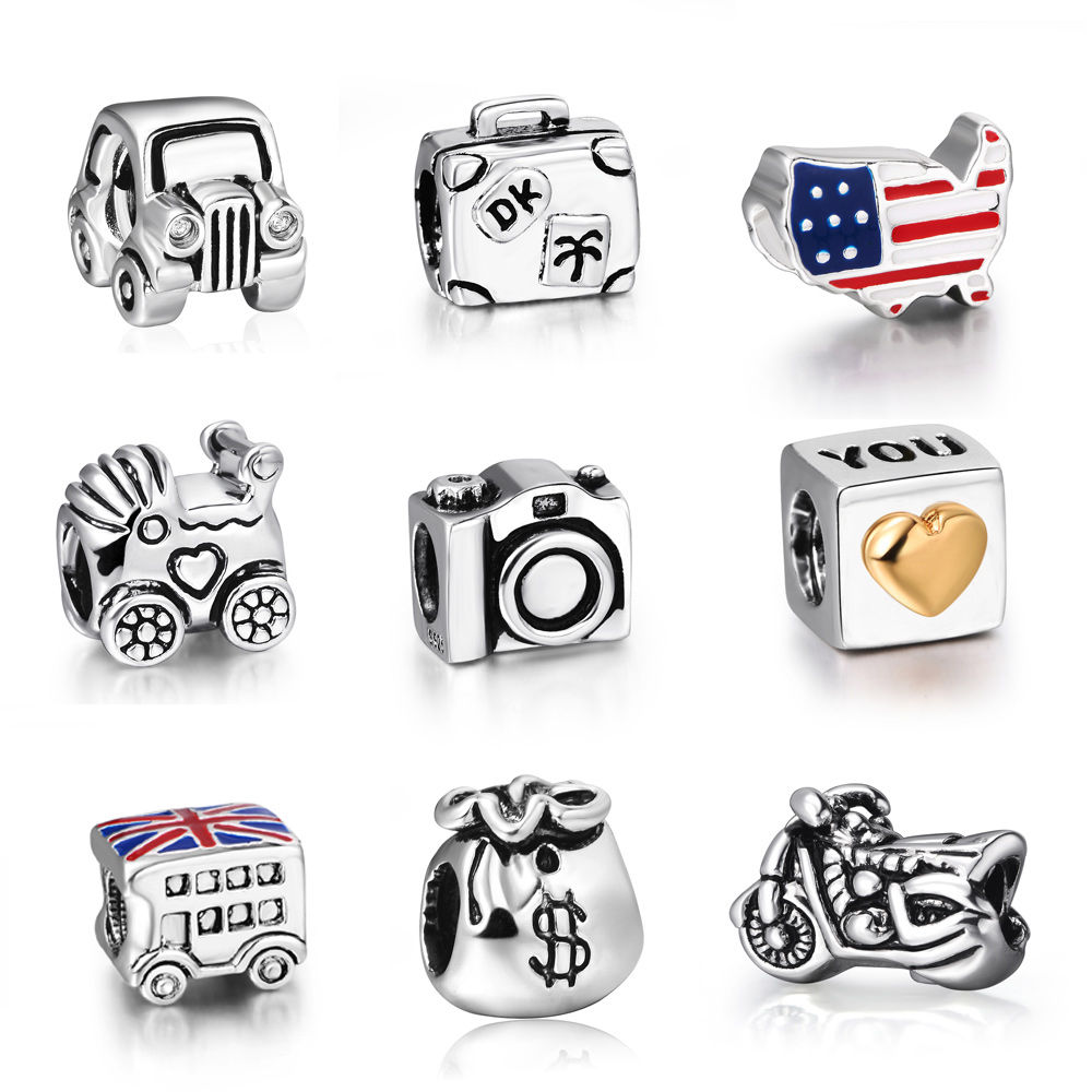 925 Sterling Silver Cheap Fine Hot The Car Model European Bead Charm For Antique Women Snake Bracelet Bangle Free shipping(China (Mainland))