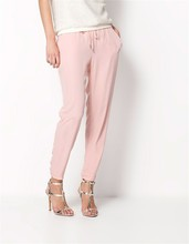 New fashion brand ladies trousers long casual pants Pure color elastic Chiffon pants leisure trousers AB17
