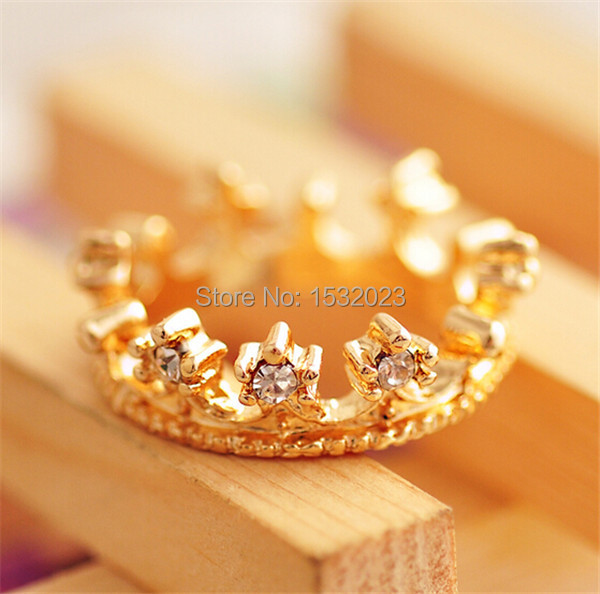 1pcs Fashion Imitate Diamond Ring Exquisite Simplicity gold Rings Imperial crown For Women Jewelry for Women OD0074(China (Mainland))