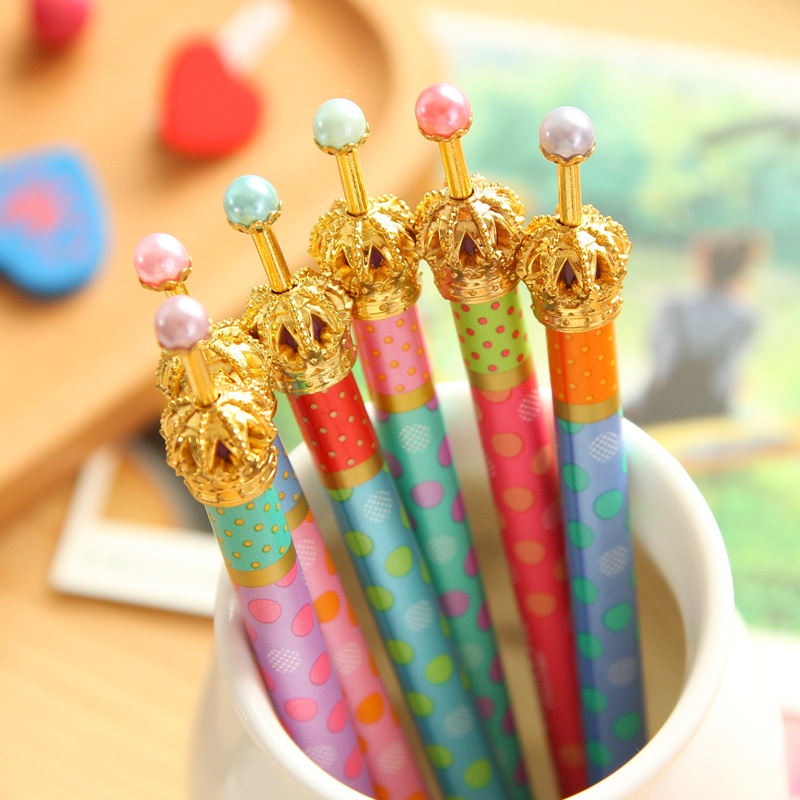 0.5mm Cute Kawaii Metal Crown Ballpoint Pen Dot Ball Point Pens for Writing  Stationery School Office Supplies Free shipping 424(China (Mainland))