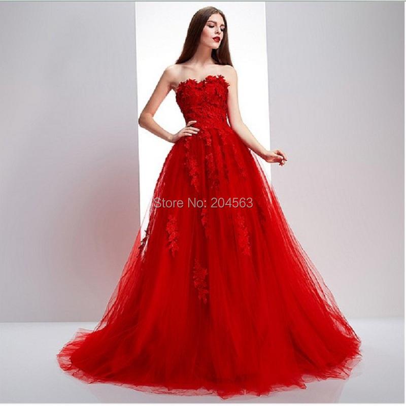 Бесплатная Доставка Тюль Бретелек Красный Свадебное Платье на заказ размер & цвет