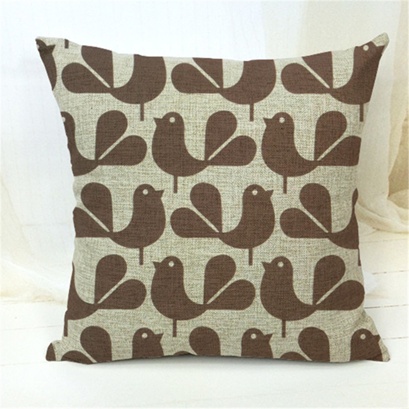 Decorative Throw Pillows Case Cute Animals Birds Horse Cotton Linen Cushion Cover For Sofa Home Decor