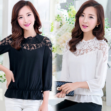 New Women Summer Spring Casual Basic Top Chiffon Lace Blouse Patchwork Sexy Shirt blusas OL Tee Embroidery Hollow out Plus Size
