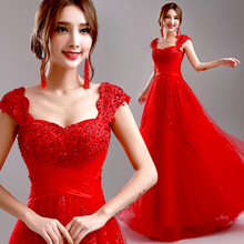 Red Evening Dress 2016 New Arrival Bride Married Wedding Party Dress Plus Size Lace Beading Sexy Long Formal Dress Prom Dresses(China (Mainland))