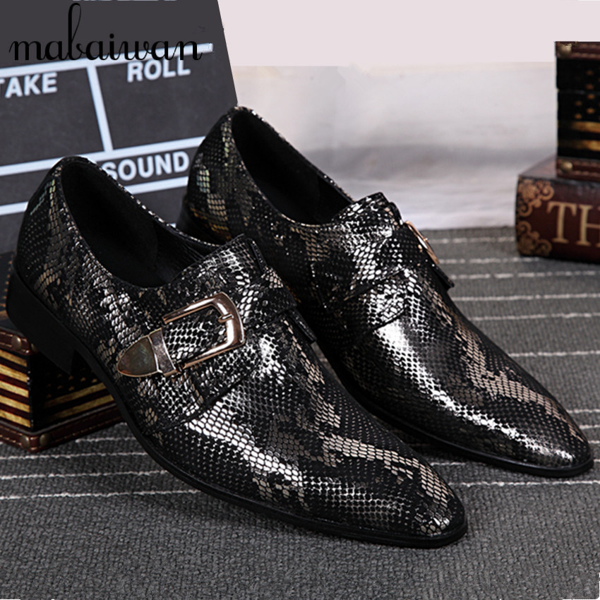 Фотография Personalized Business Silver Men Leather Shoes Fashion Pointed Toe Buckle Design Wedding Dress Shoes Mens Office Party Footwear