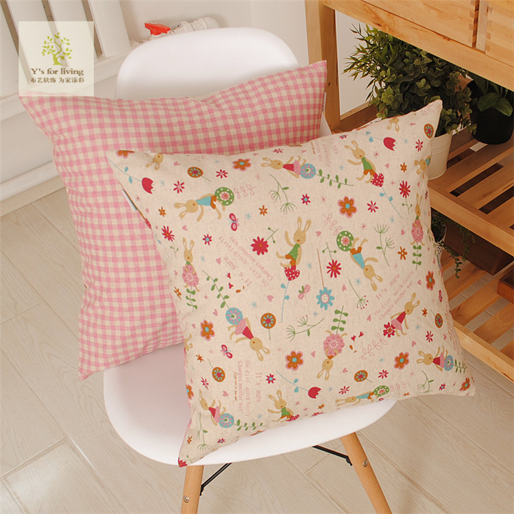 Cute Retro Style Cotton+Linen Cartoon Rabbit(A)+Red Plaid(B) AB Sides Cushion Cover/ Lumbar Pillow Cover Accept Customized(China (Mainland))