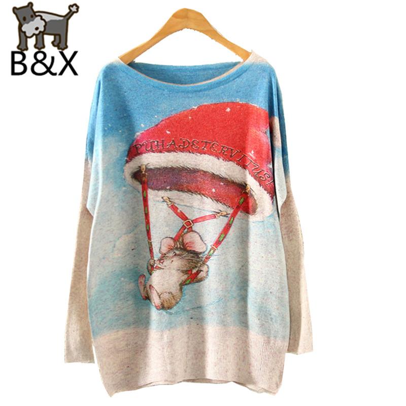 Women Pullover Christmas Cartoon Print Pattern Knitted Sweater Coat Long Bat Sleeve Hedging O-neck F882 Autumn Winter(China (Mainland))