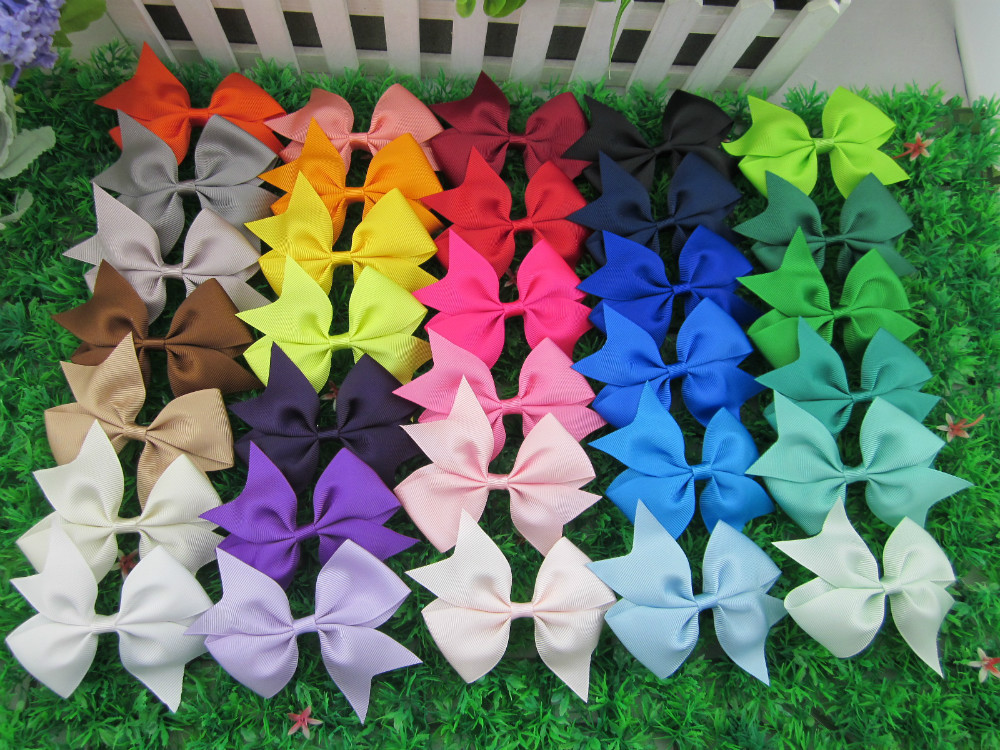 3.5 inch high quality grosgrain ribbon hair bows,children hair accessories,baby hairbows girl hair bows WITH CLIP,32pcs/lot(China (Mainland))