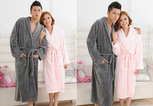Flannel nightgown solid thick coral nightgown pajamas tracksuit couple(China (Mainland))