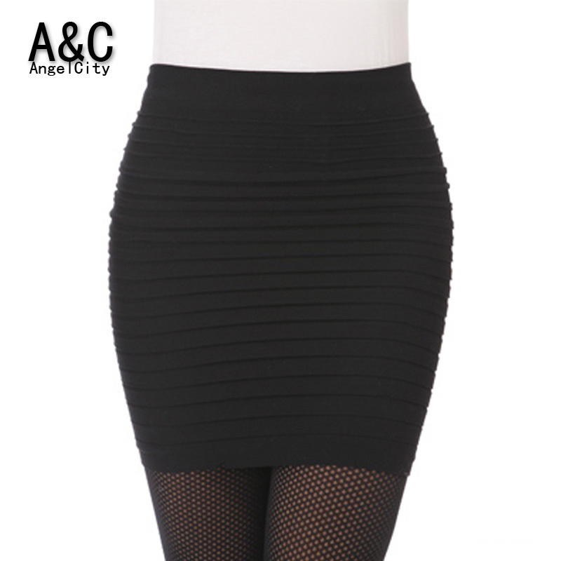 Cheapest Free Shipping New Fashion 2015 Summer Women Skirts High Waist Candy Color Plus Size Elastic