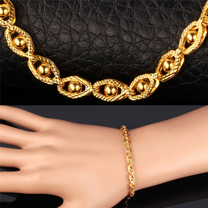 """Fashion Jewelry Men's Chain Bracelet With 18K Stamp 18K Gold Plated 5MM 21CM 8"""" Chain Bracelets For Men Wholesale Jewelry H849(China (Mainland))"""