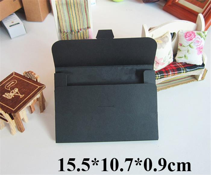 Free Shipping Retail Black Paper Box for Postcard Photo Albumn Boxes Play Card Packaging Boxes 15.5*10.7*0.9cm(China (Mainland))