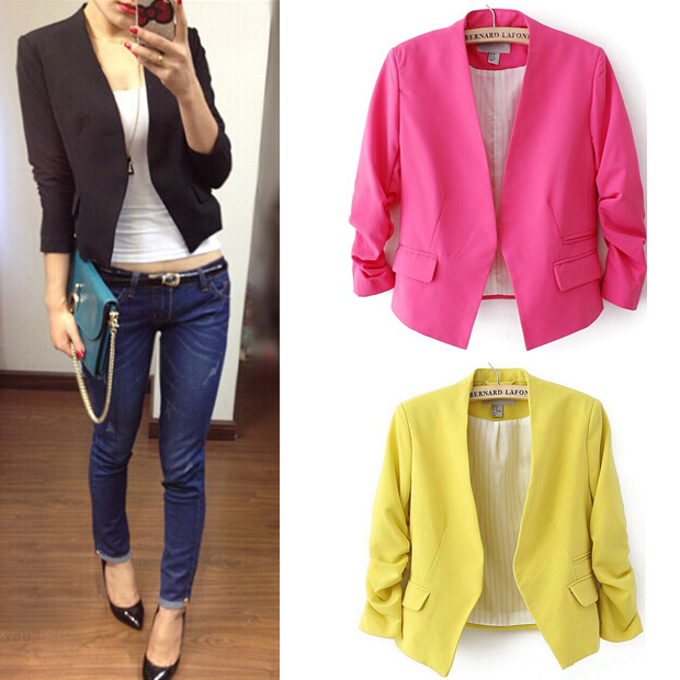2015 New fashion Woman Winter & autumn casual suit Women Jackets Puff sleeve Elegant outdoor Coats Open stich D350(China (Mainland))