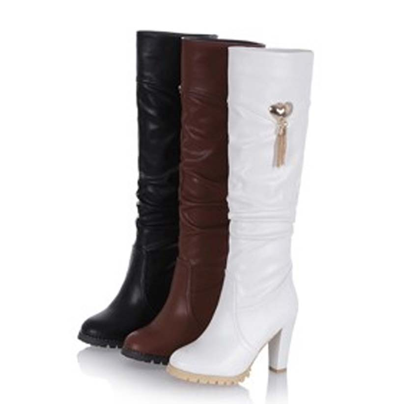Black Brown White Boots Round Toe Fashion Knee-High Boots For Women New Hot Square heel High Boots Winter Soft Leather