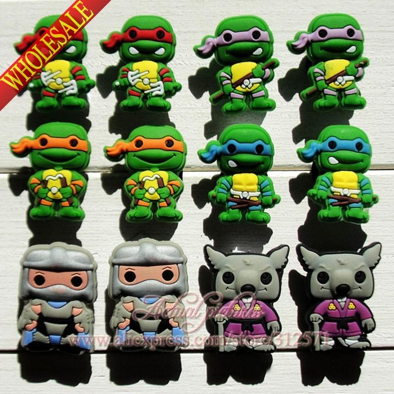 Free shipping 12Pcs/lot Ninja Turtles TMNT PVC  shoe accessories/shoe charms For Wristbands&amp; Bracelets  kids cartoon favor gift<br><br>Aliexpress