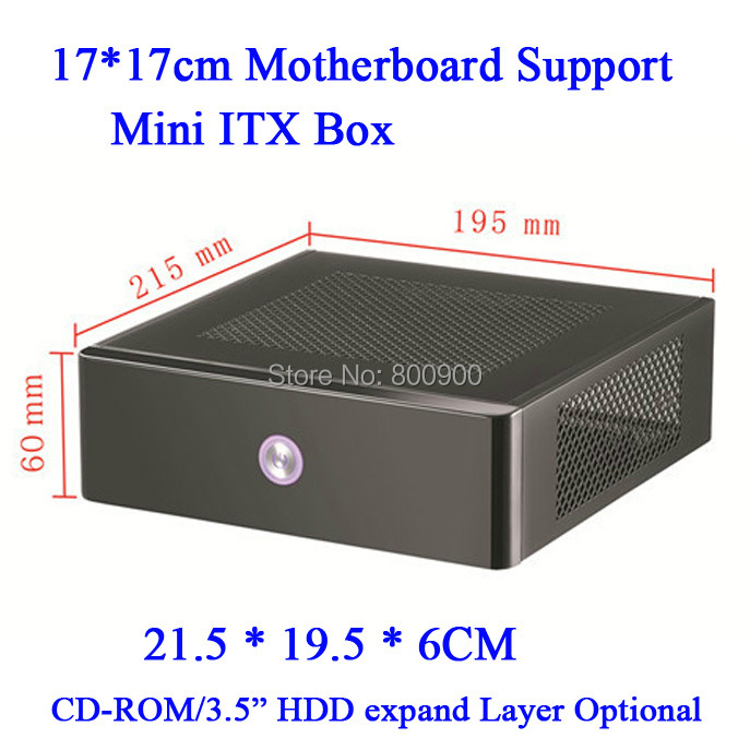 mini itx type horizontal material Slim style MINI ITX HTPC chassis mini living room computer small empty box 17*17(China (Mainland))