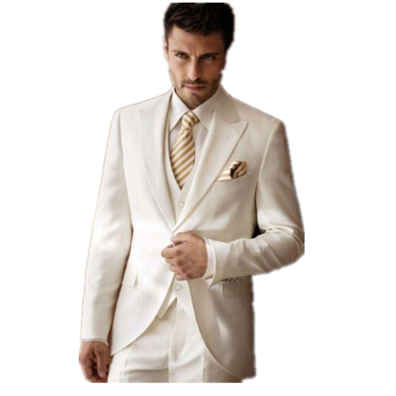 2016 white ivory wedding suits men tuxedos peaked lapel for Mens ivory dress shirt wedding