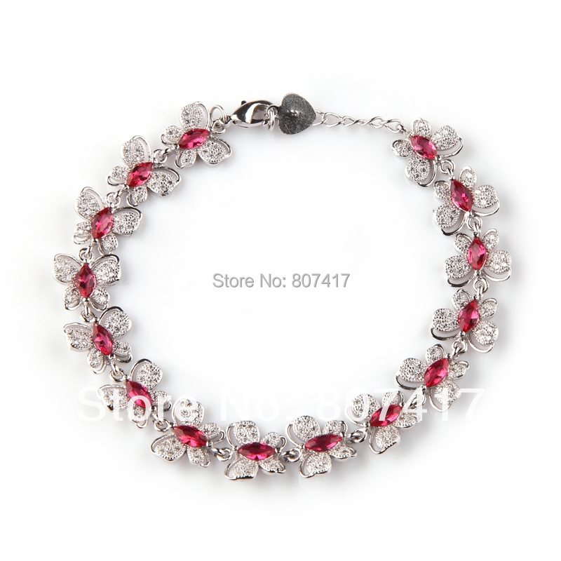 Red Cubic Zirconia Micro inlays jewelry fashion Classic Silver Plated Time limited discount Punk Bohemia Bracelet R3272(China (Mainland))