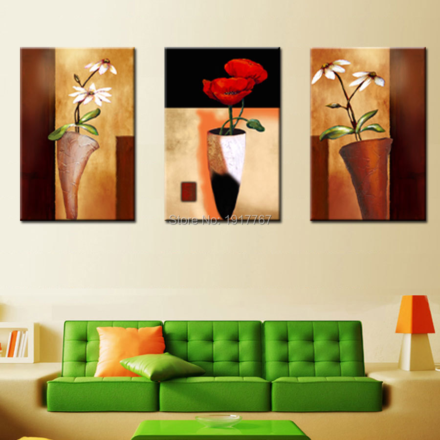 Hd printed 3 piece cheap modern abstract oil painting on for Cheap wall mural