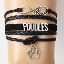Buy Drop Infinity Love POODLES Bracelet & Bangles Velvet Wrap Rope Braided Bangles Paw Charm Bracelet Jewelry Women Men for $1.40 in AliExpress store