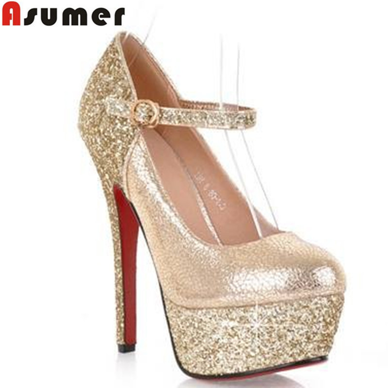 2016 new fashion round toe platform red bottom high heels gold party wedding shoes