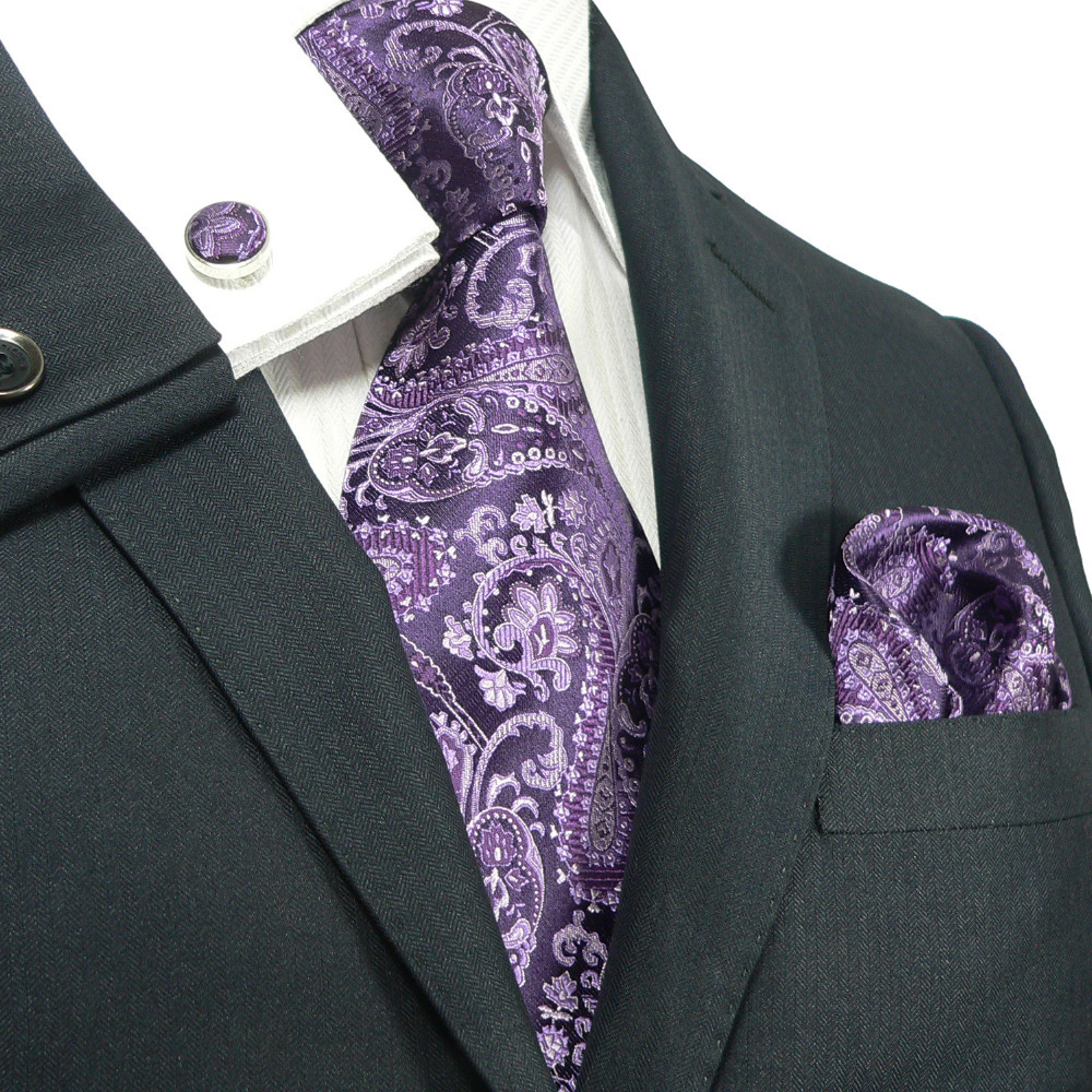 Landisun Fashion 543 Dark Purple Paisleys Mens 100 Silk