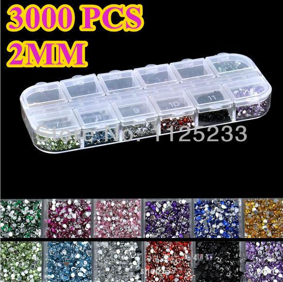 300Mix 12 Color 2mm Circle Beads Nail Art Tips Rhinestones Glitters Acrylic UV Gel Gems Decoration Hard Case J14 - ADIA beauty(HK store CO. Ltd)