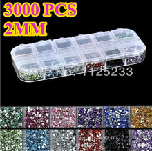 New 3000pcs Mix 12 Color 2mm Circle Beads Nail Art Tips Rhinestones Glitters  Acrylic UV Gel Gems Decoration with Hard Case J14(China (Mainland))