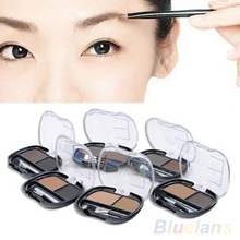 2 Colors Natural Brown Makeup Cosmetic Kit Brush Shading Eyebrow Powder Palette