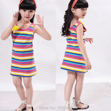 Meninas 3 Color Summer Striped Dress With Bow For Girls Colorful Stripe Clothing Size 110-170 For Kids And Teenage Free Shipping