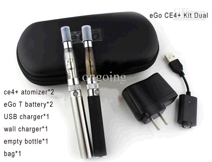 Electronic Cigarette EGO CE4 Double Starter Kits CE4+ Atomizers + eGo-T Batteries 650mah 900mAh 1100mAh US/UK/EU Charger - KAMRY TECH Co.,LTD store