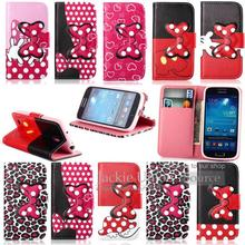 Luxury Case Cover For Samsung Galaxy S4 MINI I9190 Leather Bowknot Cartoon Leopard Flip Stand Pouch Wallet Shell Phone Cases(China (Mainland))