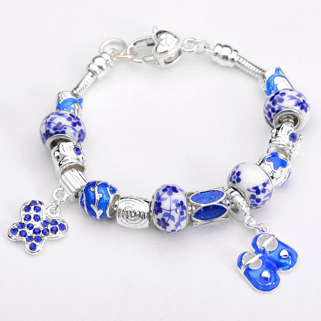 wholesale new Blue and white porcelain beads BABY SHOES charms with bracelet high quality,fashion women's bracelet jewelry
