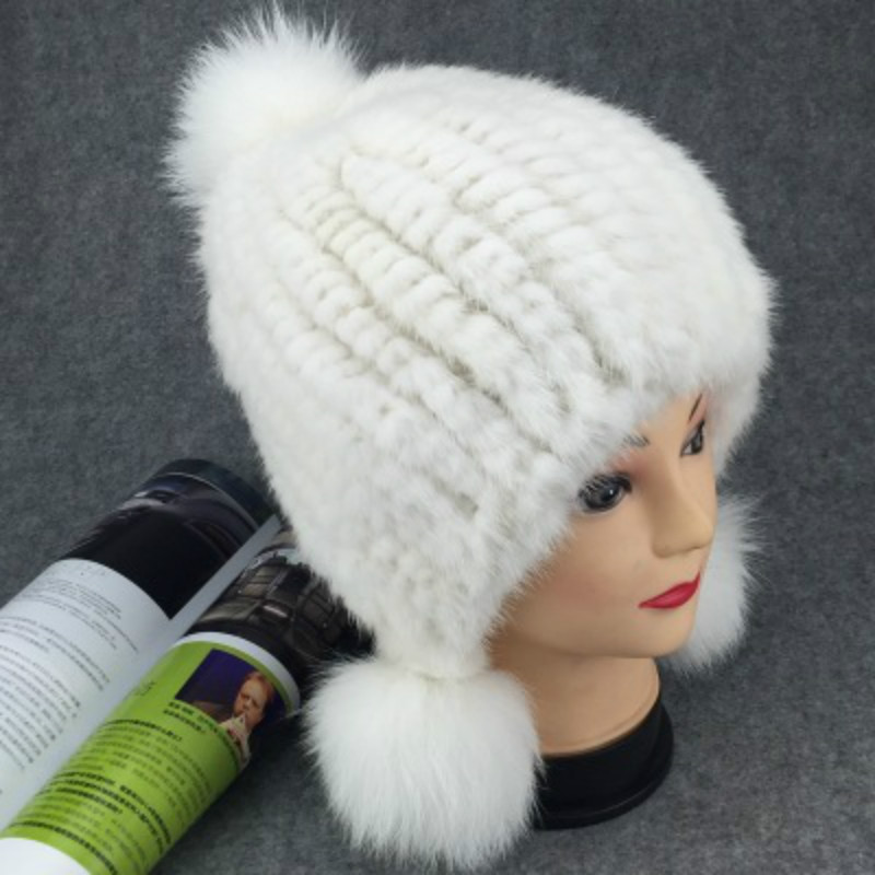 Winter New Authentic Thick Warm Mink Fur Hat Knitted Fox Fur Ball Ms. Luxury fashion Winter Hat Ear Cap Female Bomber Hats TM-11